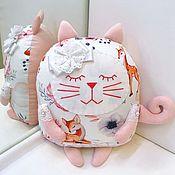 Мягкие игрушки ручной работы. Ярмарка Мастеров - ручная работа Декоративная подушка сплюшка котик. Handmade.