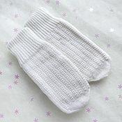 Аксессуары handmade. Livemaster - original item White Mittens knitted women`s winter Double mittens. Handmade.