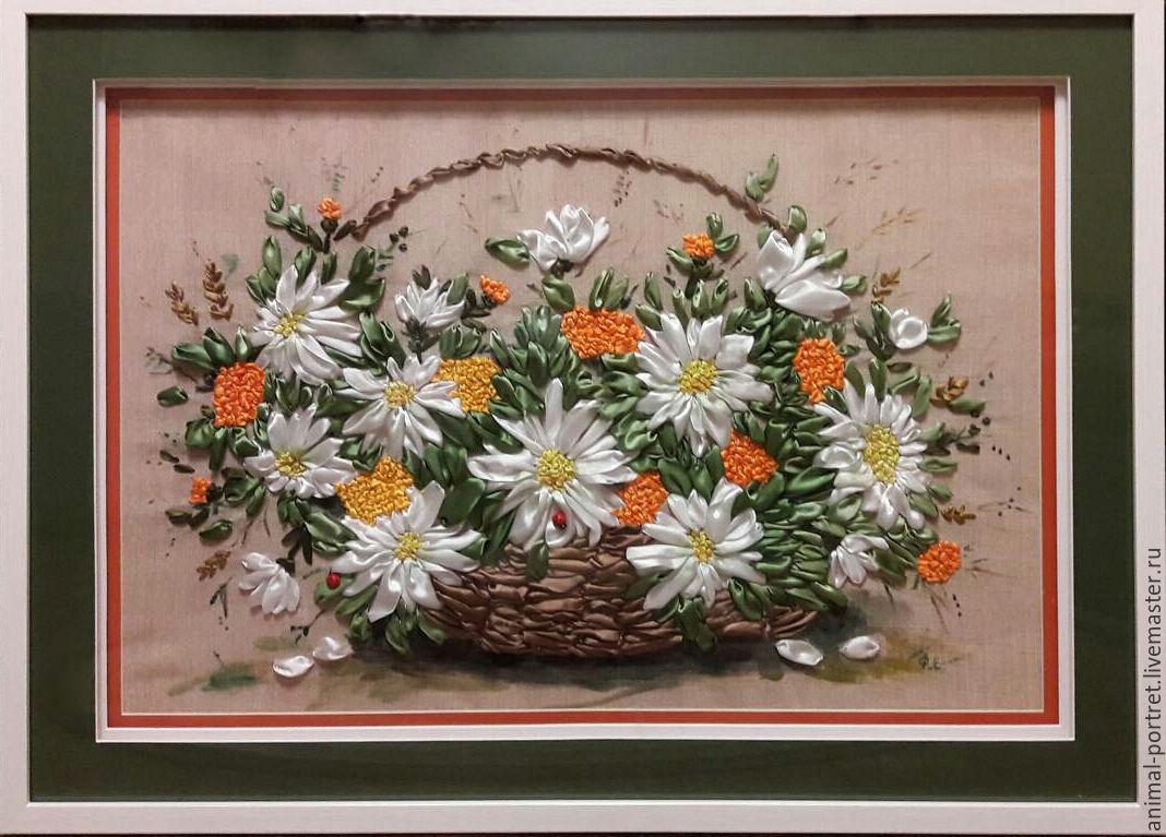 Вышивка лентами цветы в корзине фото 16