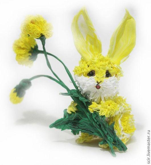 """Игрушки животные, ручной работы. Ярмарка Мастеров - ручная работа. Купить фигурка """"солнечный зайчик"""" :) (жёлтый солнечный заяц с одуванчиками). Handmade."""