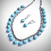 Jewelry Sets handmade. Livemaster - original item Necklace and earrings in turquoise Kingman (925 silver, Byzantine chain). Handmade.