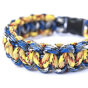 """Украшения ручной работы. Ярмарка Мастеров - ручная работа """"Жёлто-голубая Змейка"""" браслет из паракорда. Handmade."""