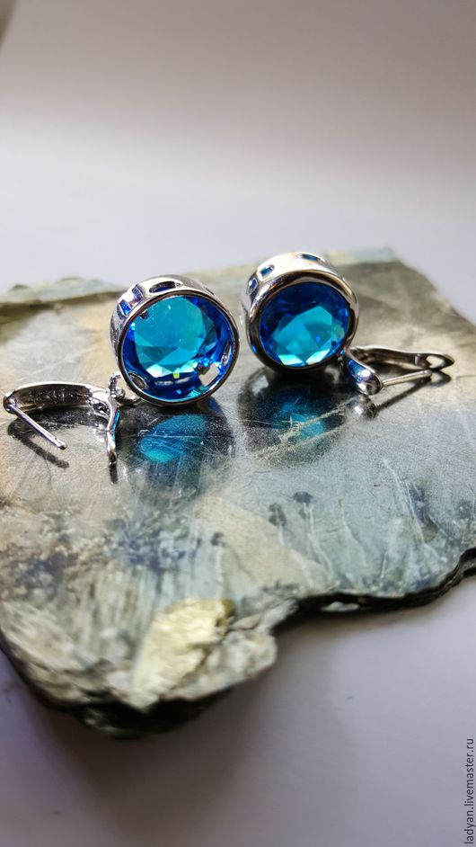 серьги, серьги  с камнями,серьги серебро,серьги серебряные,серьги с голубым камнем,серьги длинные,серьги голубые, серьги с синим камнем,вечерние серьги, голубой, синий, купить серьги