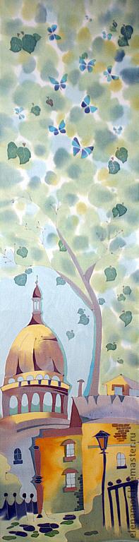 Шарфы и шарфики ручной работы. Ярмарка Мастеров - ручная работа. Купить Шарф  Весенний Париж. Handmade. Шелк, шелковый шарф