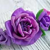 Украшения handmade. Livemaster - original item Bright comb with dark purple flowers. Handmade.