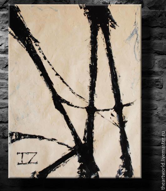 """Абстракция ручной работы. Ярмарка Мастеров - ручная работа. Купить Картина масло холст """"Абстракция B&W"""" картина маслом. Handmade."""