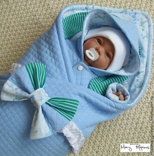 """Для новорожденных, ручной работы. Ярмарка Мастеров - ручная работа. Купить Комплект на выписку """"Хоровод зайцев"""". Handmade. Голубой, для новорожденного"""