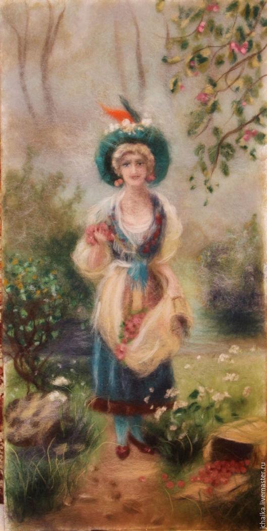 Пейзаж ручной работы. Ярмарка Мастеров - ручная работа. Купить Девушка с ягодами. Handmade. Оливковый, картина из шерсти, шерстяная акварель