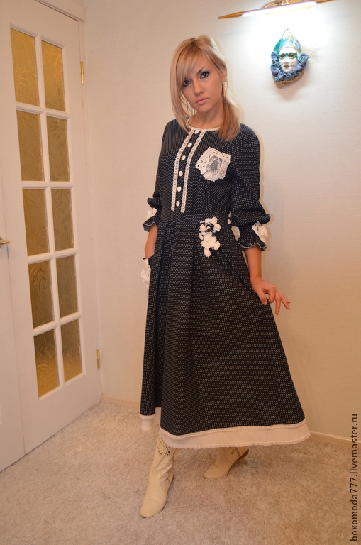 Платья ручной работы. Ярмарка Мастеров - ручная работа. Купить платье бохо...ГОРОШЕК. Handmade. Тёмно-синий, кружево для отделки