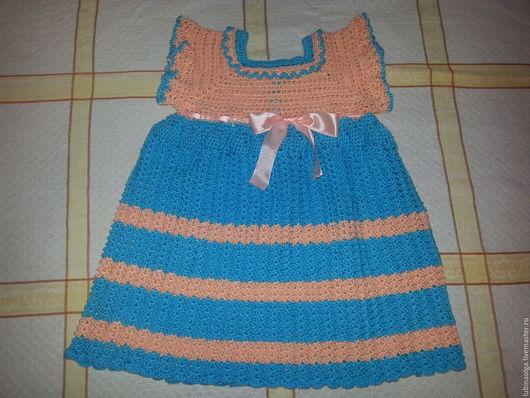 Одежда для девочек, ручной работы. Ярмарка Мастеров - ручная работа. Купить Платье летнее,  связанное крючком для девочки. Handmade. Бирюзовый