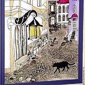 """Картины и панно ручной работы. Ярмарка Мастеров - ручная работа Триптих """"Город кошек"""". Handmade."""
