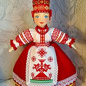 Подарки к праздникам handmade. Livemaster - original item The doll in the Russian style with hand embroidery-talisman on kettle. Handmade.