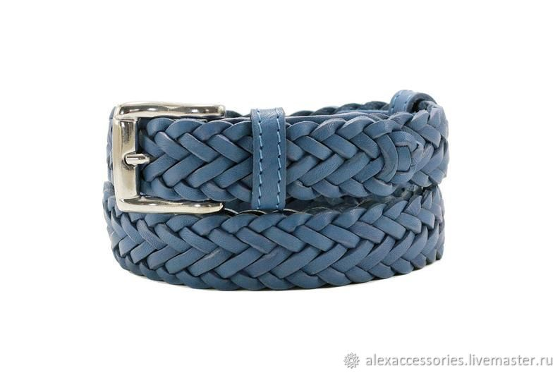 Blue leather belt, Straps, Moscow,  Фото №1