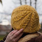 Аксессуары ручной работы. Ярмарка Мастеров - ручная работа Вязаная шапка берет женский желтый охра золотистый соломеный лимонный. Handmade.