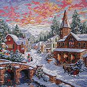 """Картины и панно ручной работы. Ярмарка Мастеров - ручная работа Вышивка крестом """"Рождественская деревня"""". Handmade."""
