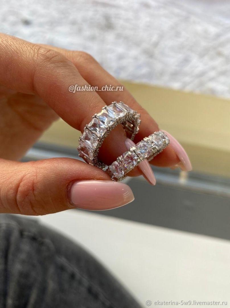 Шикарные кольца с фианитами люкс. Серебро 925, Кольца, Казань,  Фото №1