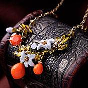"""Украшения ручной работы. Ярмарка Мастеров - ручная работа Ожерелье """"Апельсинчики"""" в коробке. Handmade."""