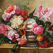 """Картина """"Натюрморт с пионами и тюльпанами"""""""