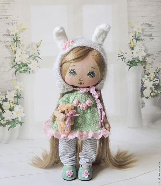 Коллекционные куклы ручной работы. Ярмарка Мастеров - ручная работа. Купить Малышка. Мамина зайка.. Handmade. Мятный, хлопок