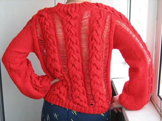 Кофты и свитера ручной работы. Ярмарка Мастеров - ручная работа. Купить Летняя красная кофта. Handmade. Ярко-красный