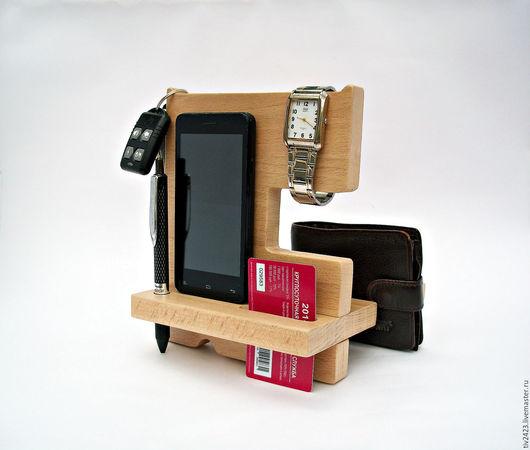 Для телефонов ручной работы. Ярмарка Мастеров - ручная работа. Купить Подставка под телефон из дерева. Handmade. Бежевый, ключница