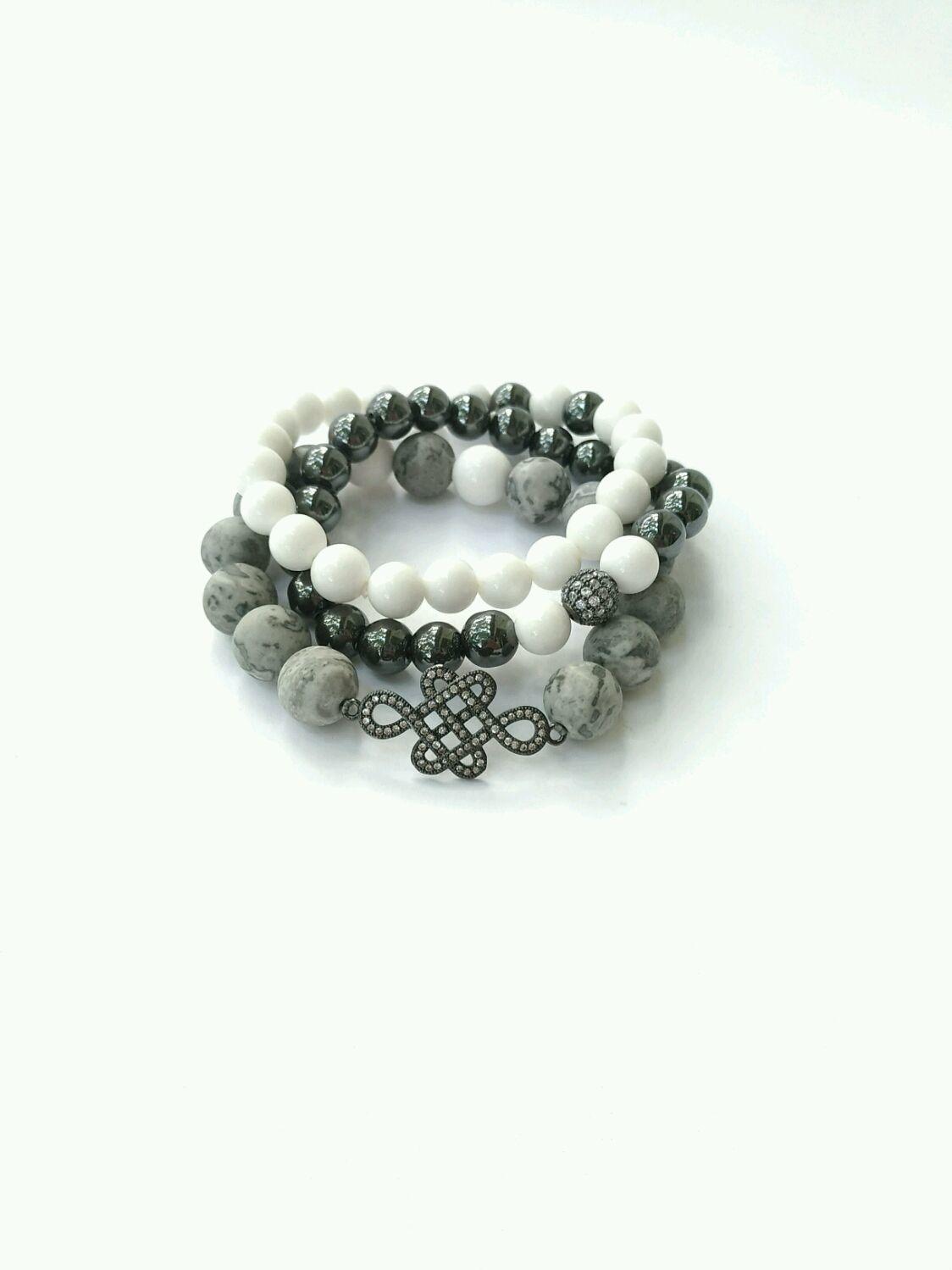 Set of bracelets made of stones and Mystic knot amulet, Bracelet set, Moscow,  Фото №1
