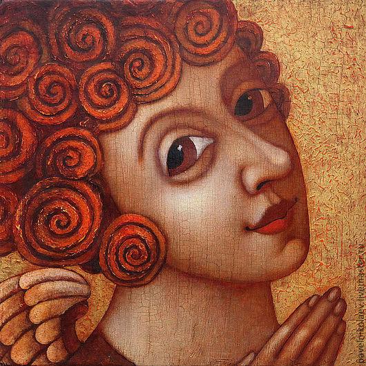 """Фантазийные сюжеты ручной работы. Ярмарка Мастеров - ручная работа. Купить Кудрявый ангел"""", авторская печать.. Handmade. Оранжевый, панно"""