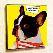 Подарки к праздникам handmade. Livemaster - original item Painting poster Pop Art French Bulldog. Handmade.