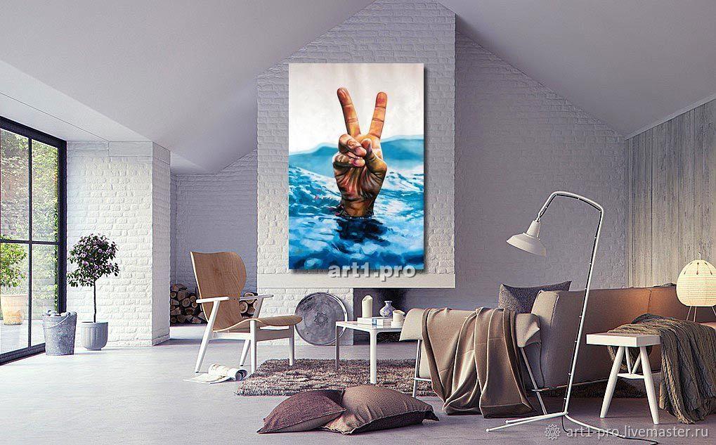 Голубая картина Маслом Море. Победа