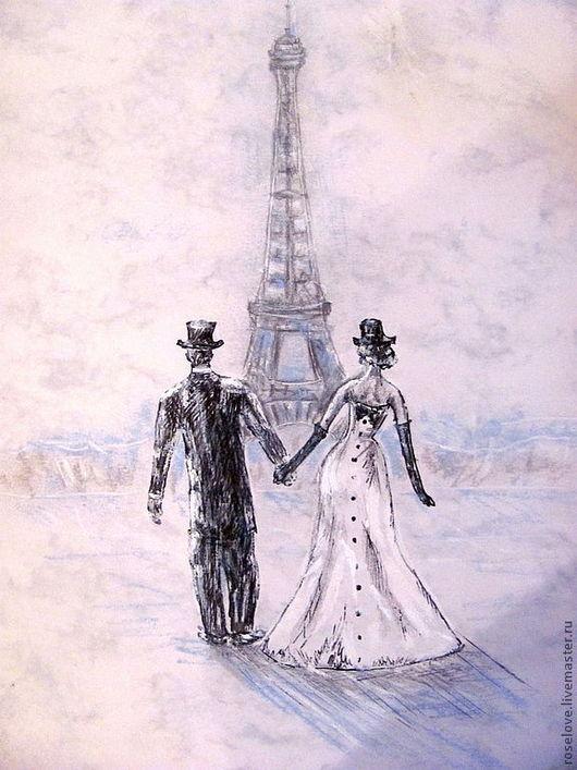 """Картина """"Влюбленный Париж..Полет над облаками"""" Катерины Аксеновойкупить картины париж,картина париж эйфелева башня купить,купить картину с видом парижа,городской пейзаж картины,париж маслом,"""