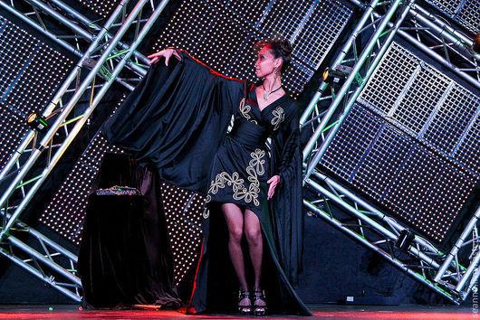 """Халаты ручной работы. Ярмарка Мастеров - ручная работа. Купить Платье-кимоно """"Тайская принцесса"""" с золотой вышивкой. Handmade. Черный"""