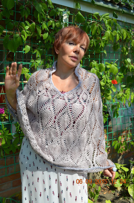 Cape-poncho 'Ashes of roses', Ponchos, Shahty,  Фото №1