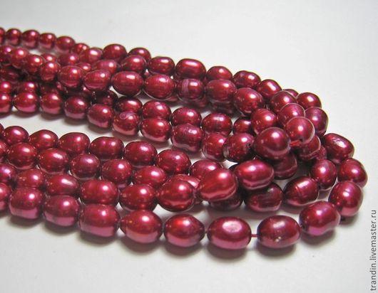 Для украшений ручной работы. Ярмарка Мастеров - ручная работа. Купить Пресноводный жемчуг цвета рубина. Бусина 6-6,5 см. Handmade.