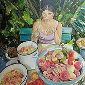 Картины и панно ручной работы. Ярмарка Мастеров - ручная работа Картина. Саша с яблоками. Handmade.