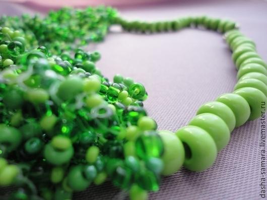 Колье, бусы ручной работы. Ярмарка Мастеров - ручная работа. Купить Колье из бисера Апрель. Первая зелень. Handmade.