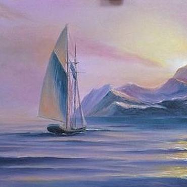 Картины и панно ручной работы. Ярмарка Мастеров - ручная работа Сиреневый морской пейзаж. Handmade.