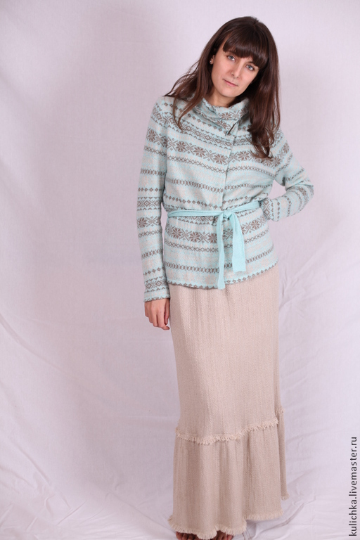 Пиджаки, жакеты ручной работы. Ярмарка Мастеров - ручная работа. Купить Вязаный жакет с длинной юбкой. Handmade. Бежевый, юбка