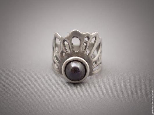 Кольца ручной работы. Ярмарка Мастеров - ручная работа. Купить Кольцо из серебра с тёмным жемчугом 18,5-18,6 рр. Handmade.