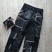 handmade. Livemaster - original item Black jeans made of patchwork pieces. Handmade.