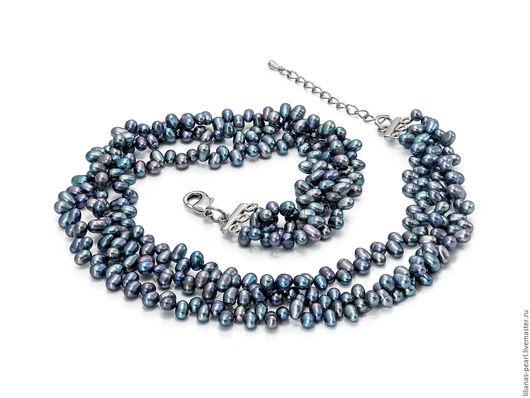 Колье, бусы ручной работы. Ярмарка Мастеров - ручная работа. Купить Объемное жемчужное ожерелье из речного жемчуга серо-синего цвета. Handmade.