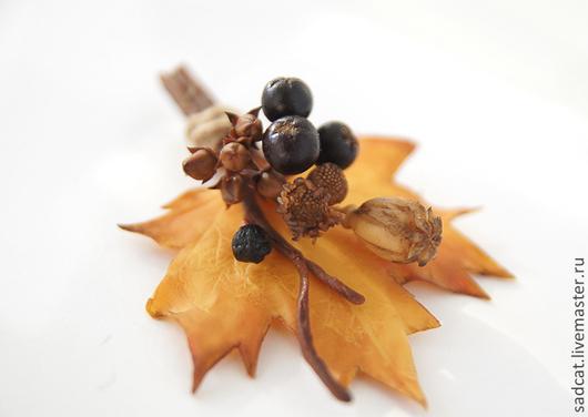 """Броши ручной работы. Ярмарка Мастеров - ручная работа. Купить Брошь """"дыхание осени"""" с черноплодной рябиной и сухоцветами. Handmade."""