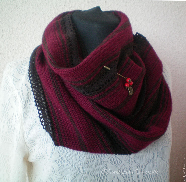 Купить Снуд с брошью Шарфы и шарфики ручной работы. Снуд с брошью