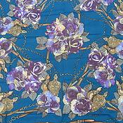 Винтаж handmade. Livemaster - original item A big scarf with roses,polyester,vintage Italy. Handmade.