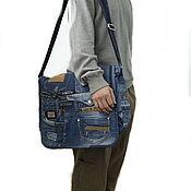 Сумки и аксессуары handmade. Livemaster - original item Messenger Bag Denim Unisex Boho Shoulder Bag Messenger Bag Postman. Handmade.