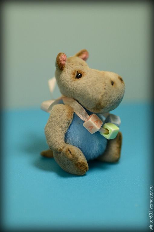 Мишки Тедди ручной работы. Ярмарка Мастеров - ручная работа. Купить Бегемотик Полли. Handmade. Серый, миништоф