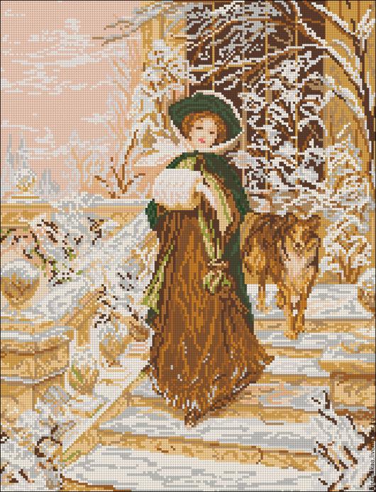 Схема для вышивания бисером полной зашивкой `Зимняя прогулка`