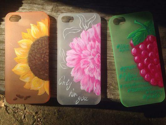 Для телефонов ручной работы. Ярмарка Мастеров - ручная работа. Купить Чехол iPhone 5/5s/4/4s. Handmade. Чехол на телефон, малина