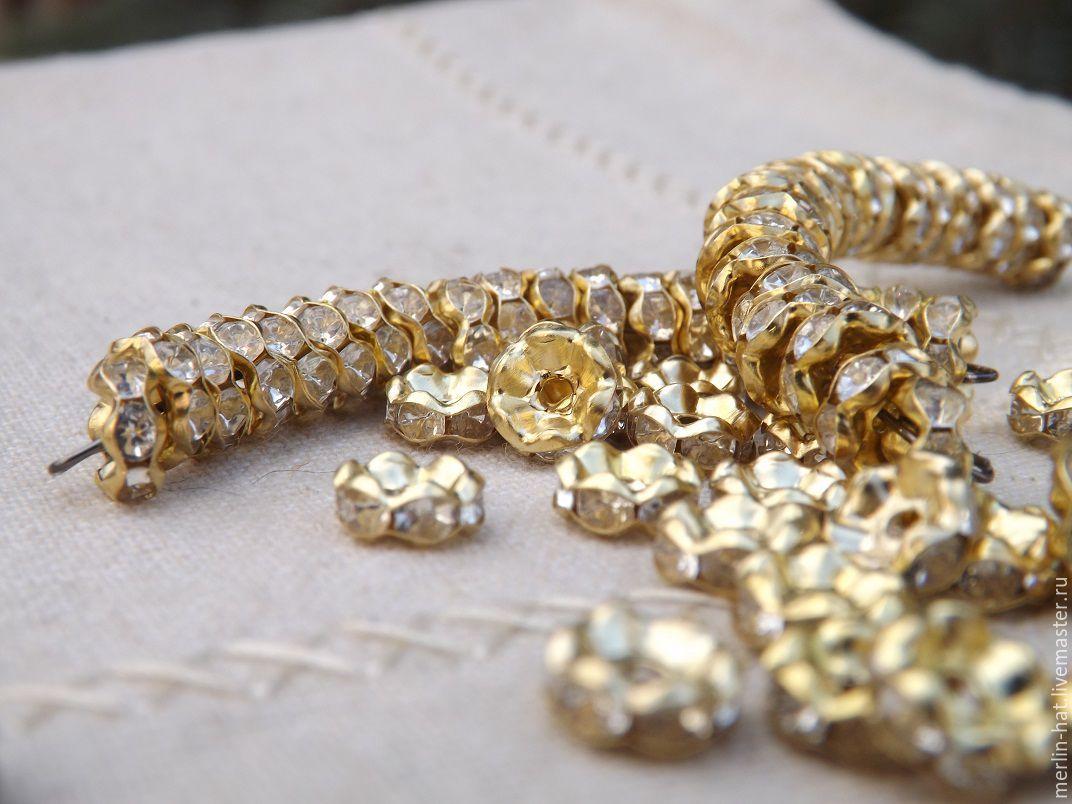 Rondel metal ' Rhinestones gold 8 mm 10pcs, Rhinestones, Tambov,  Фото №1