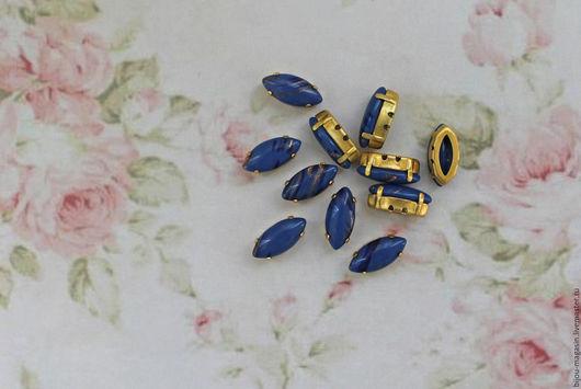 Для украшений ручной работы. Ярмарка Мастеров - ручная работа. Купить Винтажные кристаллы 15х7мм стразы в оправе цвет синий. Handmade.