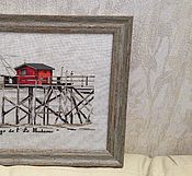 """Картины и панно ручной работы. Ярмарка Мастеров - ручная работа Вышивка """"Дом на сваях"""". Handmade."""
